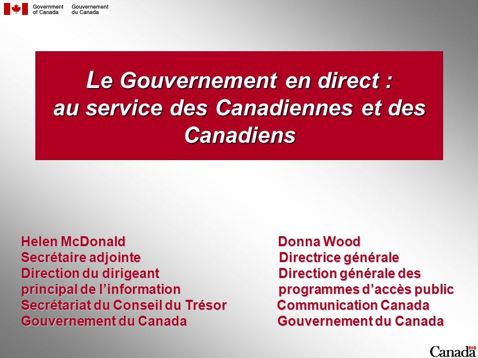 L e Gouvernement en direct : au service des Canadiennes et des Canadiens Helen McDonald Donna Wood Secrétaire adjointe Directrice générale Direction d