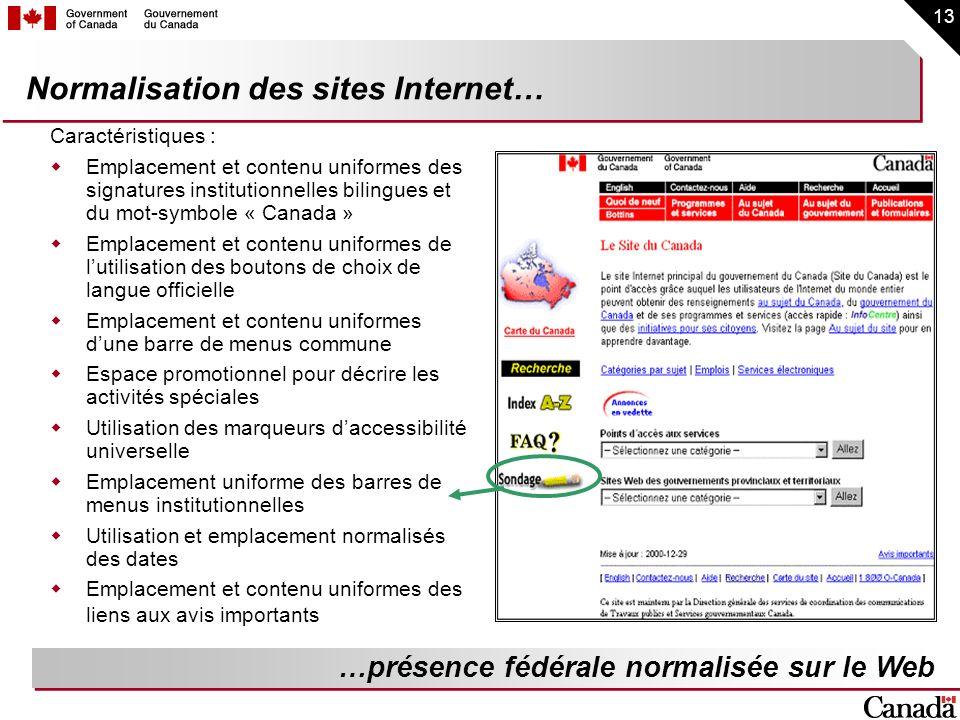 13 Normalisation des sites Internet… Caractéristiques : Emplacement et contenu uniformes des signatures institutionnelles bilingues et du mot-symbole