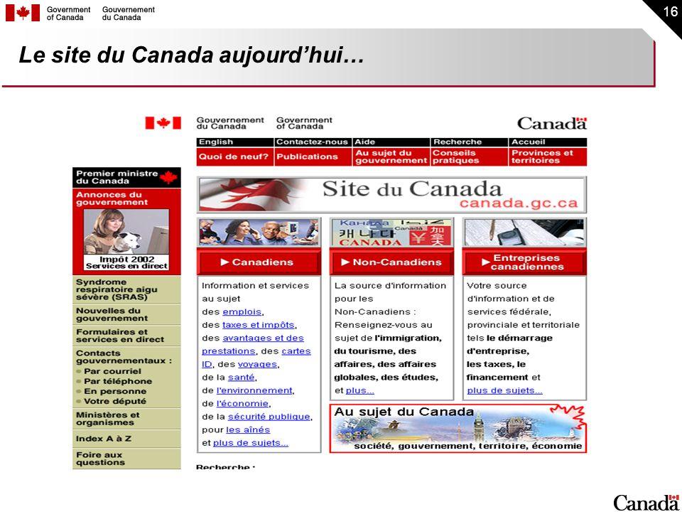 16 Le site du Canada aujourdhui…
