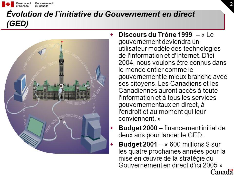 2 Discours du Trône 1999 – « Le gouvernement deviendra un utilisateur modèle des technologies de l'information et d'Internet. D'ici 2004, nous voulons