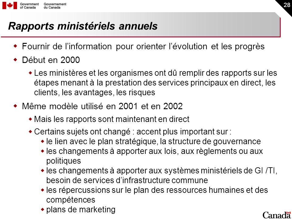 28 Rapports ministériels annuels Fournir de linformation pour orienter lévolution et les progrès Début en 2000 Les ministères et les organismes ont dû