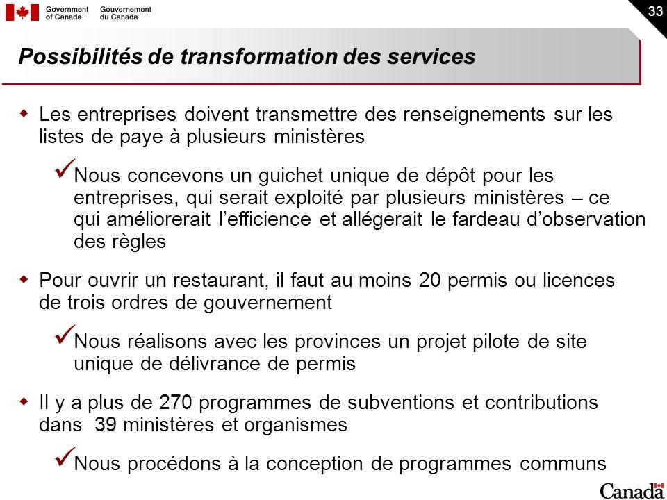 33 Possibilités de transformation des services Les entreprises doivent transmettre des renseignements sur les listes de paye à plusieurs ministères No