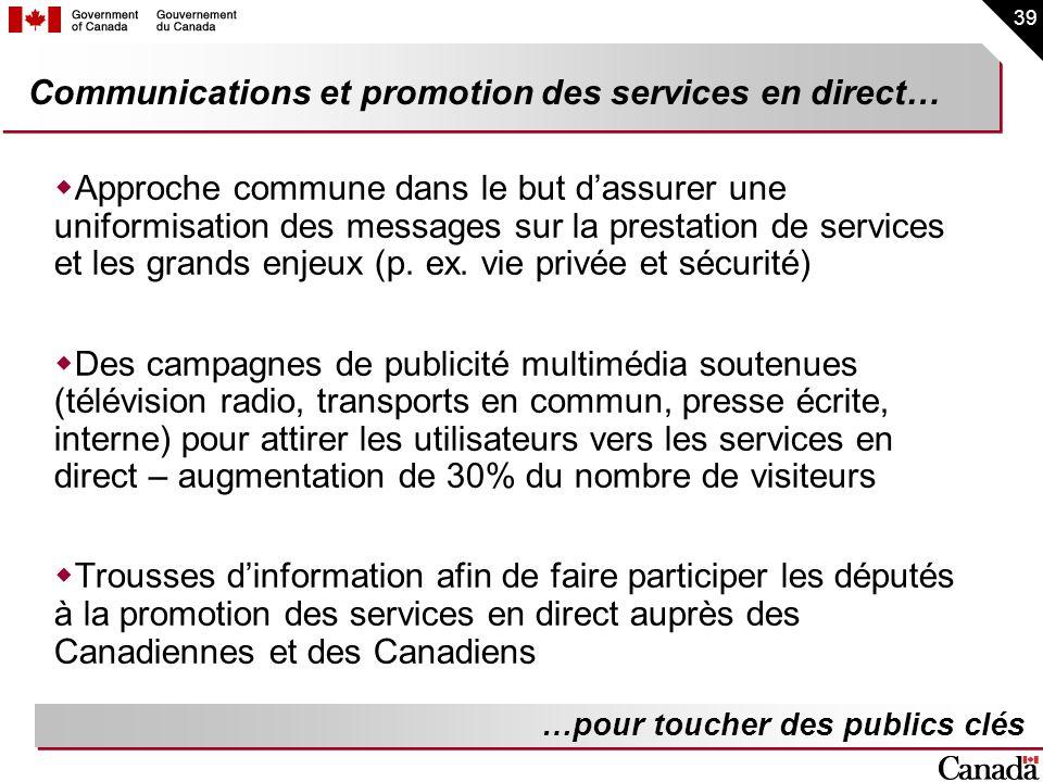 39 Communications et promotion des services en direct… Approche commune dans le but dassurer une uniformisation des messages sur la prestation de serv
