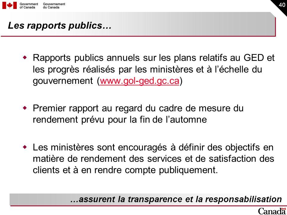 40 Les rapports publics… Rapports publics annuels sur les plans relatifs au GED et les progrès réalisés par les ministères et à léchelle du gouverneme