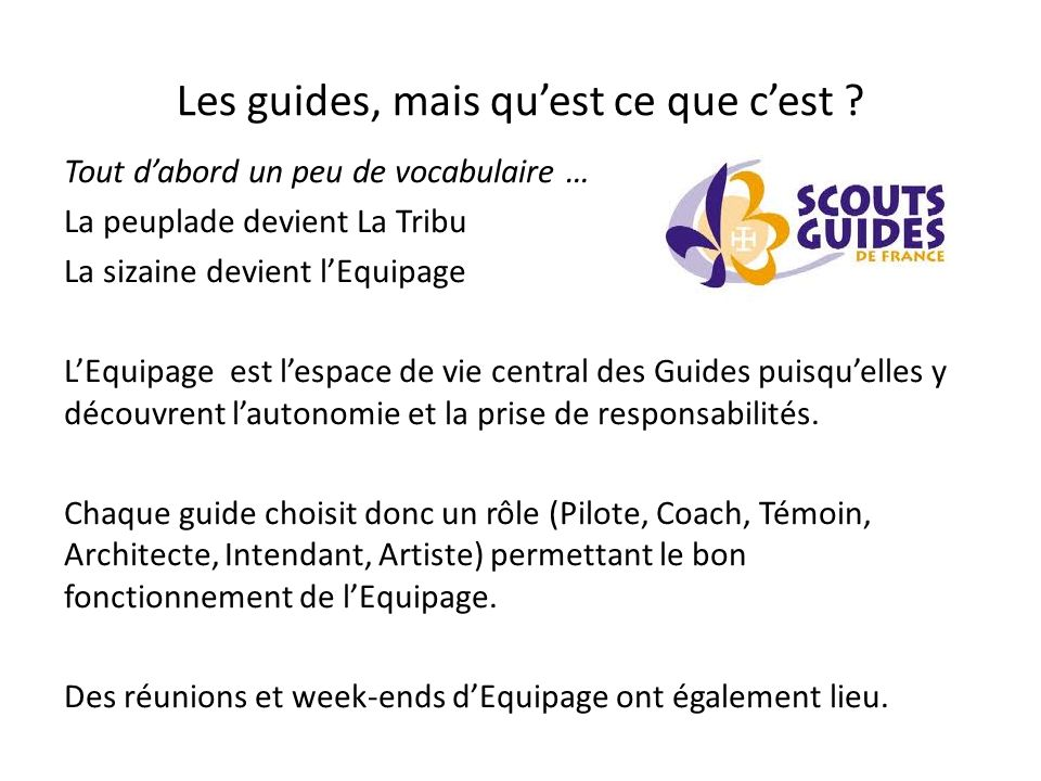 Les guides, mais quest ce que cest .