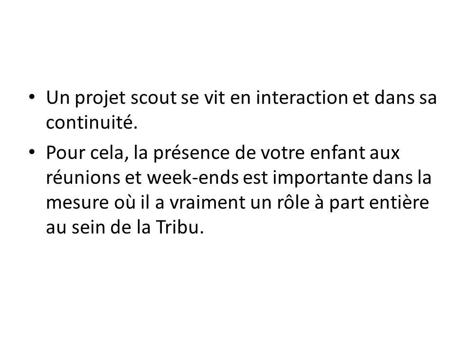 Un projet scout se vit en interaction et dans sa continuité.