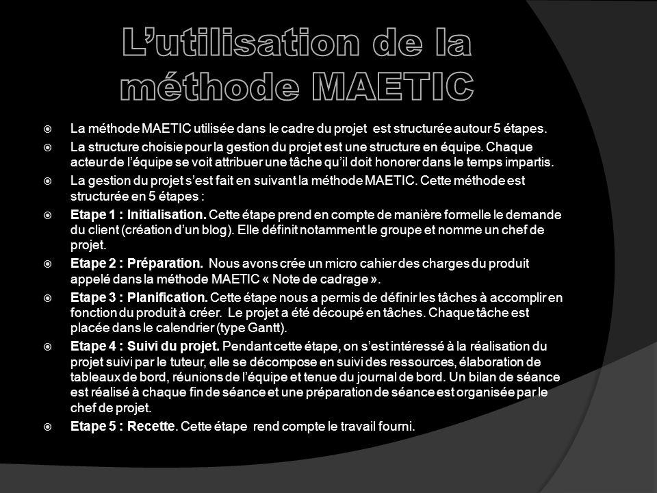 La méthode MAETIC utilisée dans le cadre du projet est structurée autour 5 étapes.