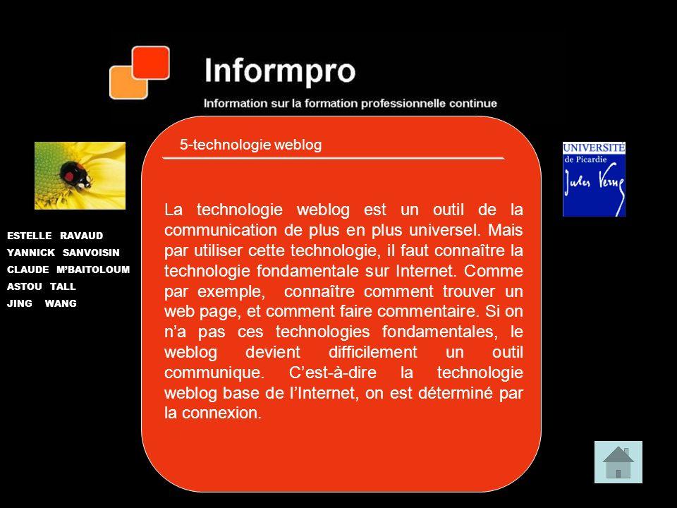 5-technologie weblog ESTELLE RAVAUD YANNICK SANVOISIN CLAUDE MBAITOLOUM ASTOU TALL JING WANG La technologie weblog est un outil de la communication de