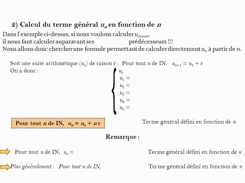 2) Calcul du terme général u n en fonction de n Dans l'exemple ci-dessus, si nous voulons calculer u 10000, il nous faut calculer auparavant ses prédé