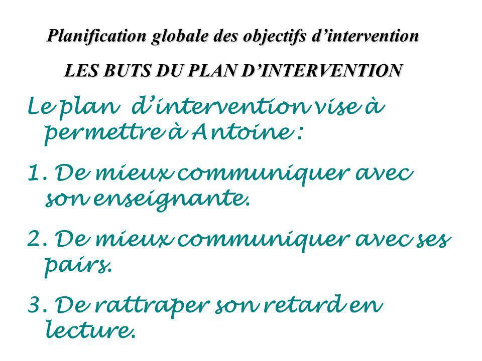 Planification globale des objectifs dintervention LES BUTS DU PLAN DINTERVENTION Le plan dintervention vise à permettre à Antoine : 1.