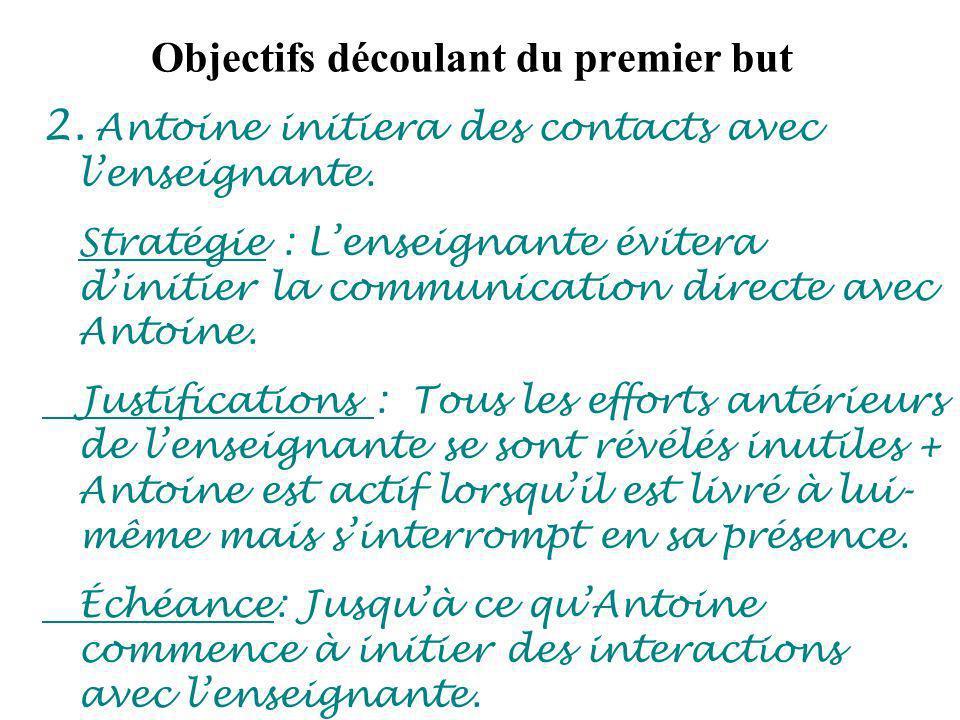 Objectifs découlant du premier but 2. Antoine initiera des contacts avec lenseignante.