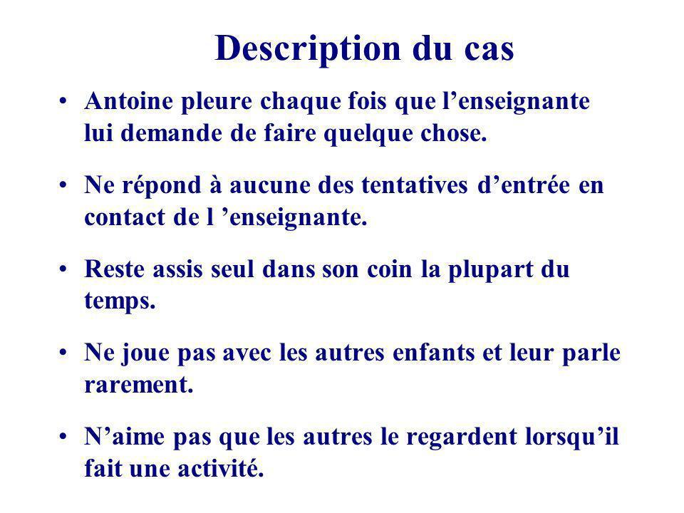 Description du cas Antoine pleure chaque fois que lenseignante lui demande de faire quelque chose.
