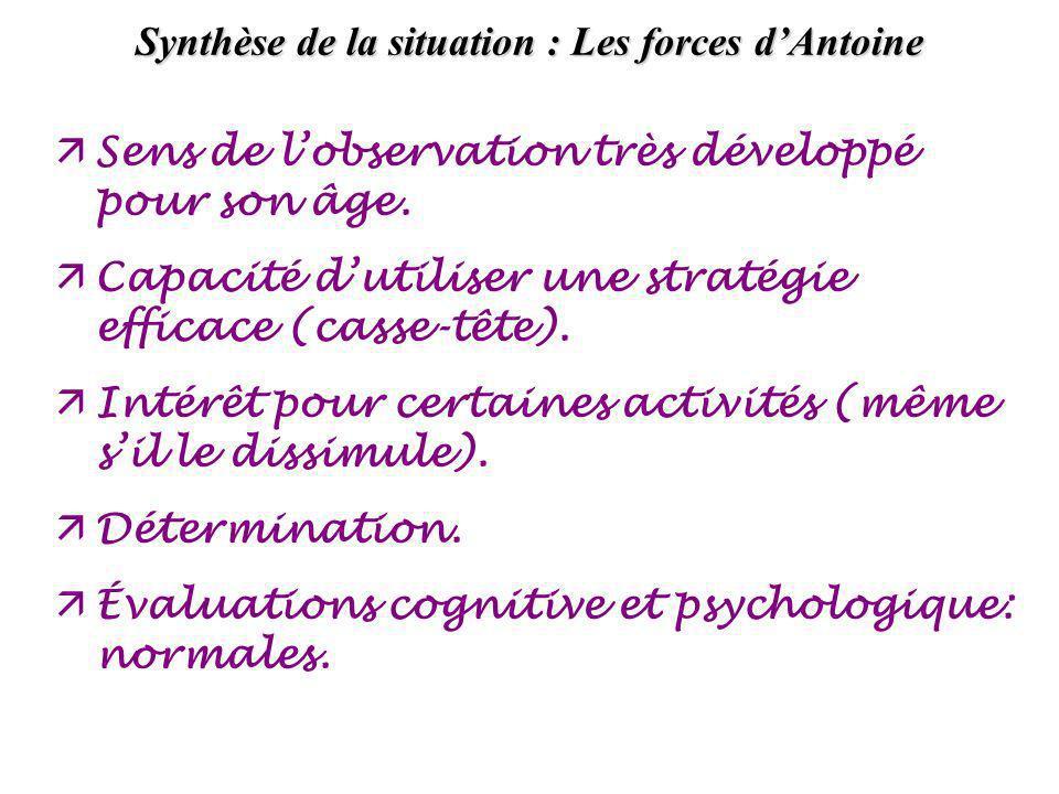 Synthèse (suite) : Les faiblesses et le besoins dAntoine äDifficultés importantes de communication avec lenseignante (pleurs et retrait) et avec les pairs (retrait).