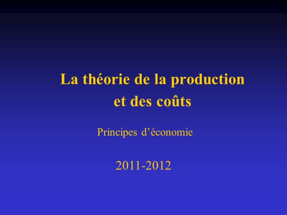 La théorie de la production et des coûts Principes déconomie 2011-2012