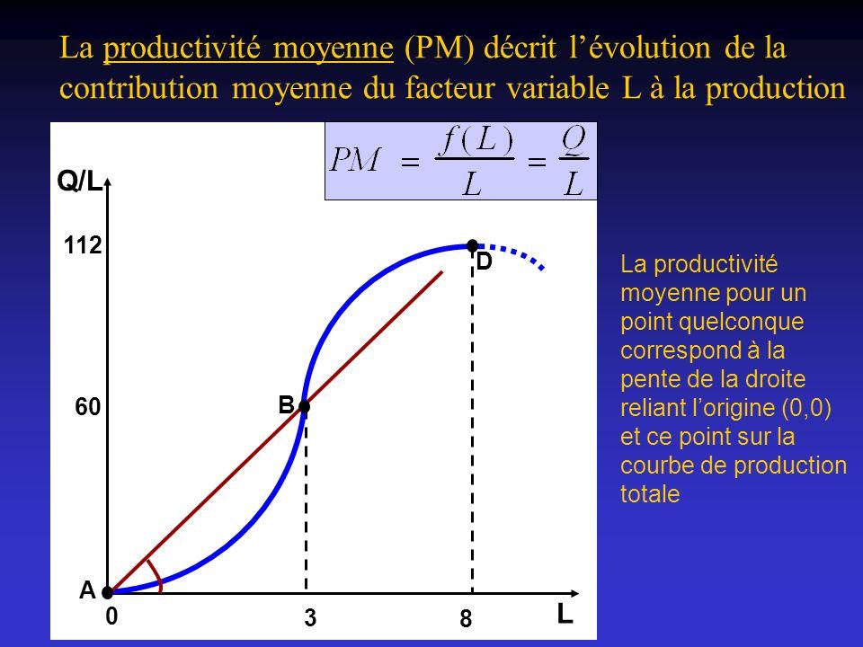 La productivité moyenne (PM) décrit lévolution de la contribution moyenne du facteur variable L à la production La productivité moyenne pour un point