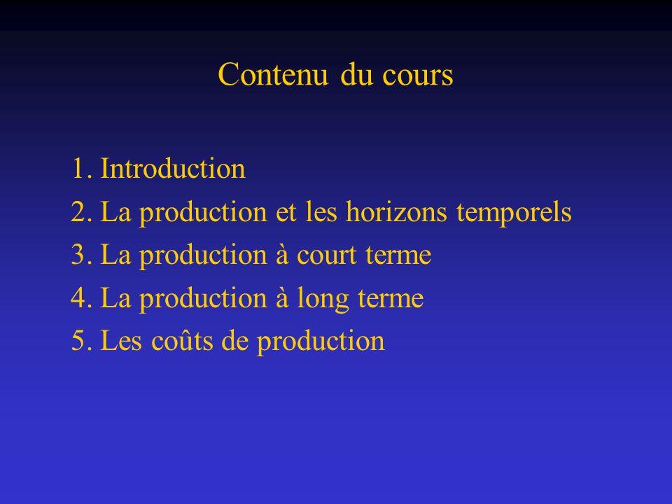 niveau de production L objet de la théorie de la production est la détermination du niveau de production qui sera offert par les producteurs.
