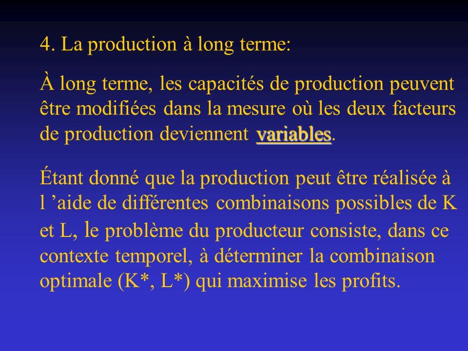 variables À long terme, les capacités de production peuvent être modifiées dans la mesure où les deux facteurs de production deviennent variables. Éta