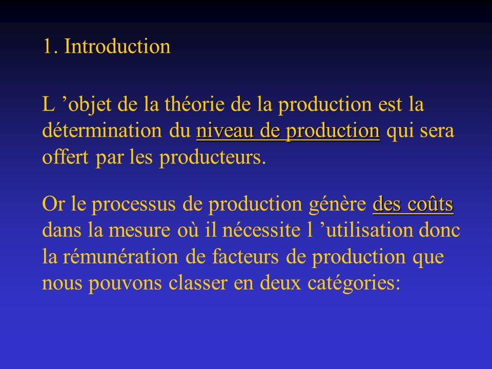 Ainsi, l allure de la fonction de production à court terme est la suivante: LDLD L QDQD QBQB L 0 Croissants Décroissants B D A Q De A vers B élevée De A vers B, la production augmente plus rapidement que le nombre de travailleurs car chacun d entre eux dispose d une quantité élevée du facteur fixe.