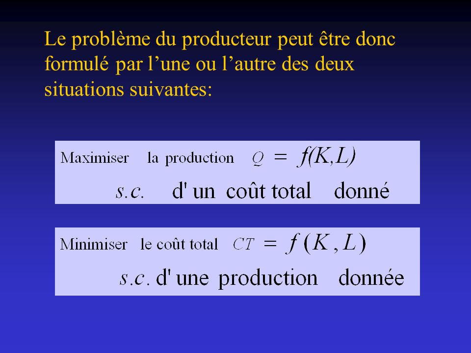 La fonction de production décrit la relation existante entre les facteurs de production utilisés (K et L) et la production totale (PT = Q) qu ils permettent d obtenir étant donné la technologie existante.