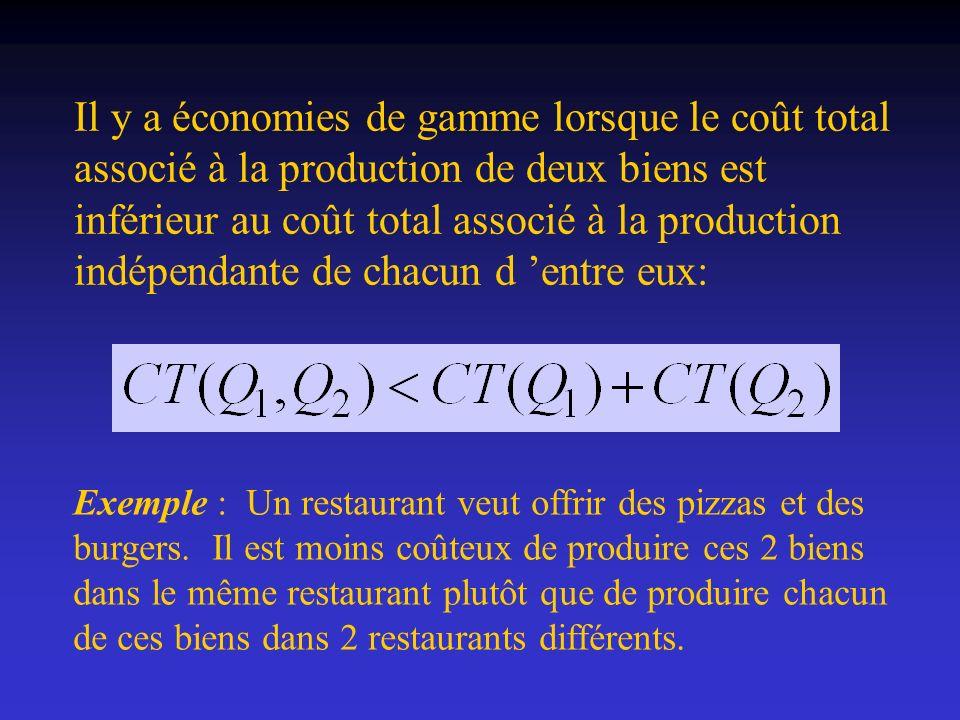 Il y a économies de gamme lorsque le coût total associé à la production de deux biens est inférieur au coût total associé à la production indépendante