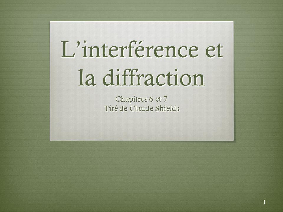 Points essentiels Retour sur la notion dinterférence (section 6.1) Diffraction de Fresnel (section 7.1) Diffraction de Fraunhofer (section 7.2) Lexpérience de Young (section 6.3) 2