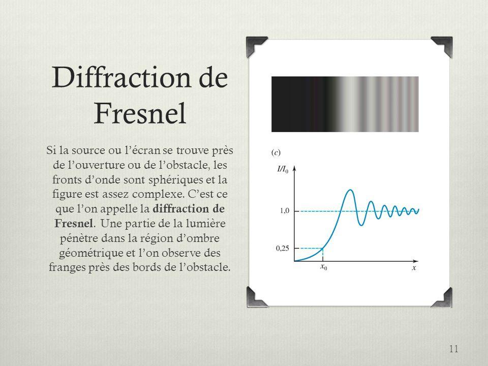 11 Diffraction de Fresnel Si la source ou lécran se trouve près de louverture ou de lobstacle, les fronts donde sont sphériques et la figure est assez
