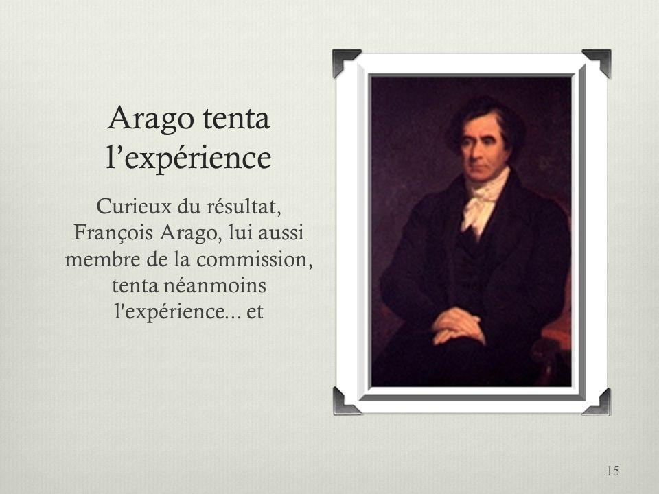 Arago tenta lexpérience Curieux du résultat, François Arago, lui aussi membre de la commission, tenta néanmoins l'expérience... et 15