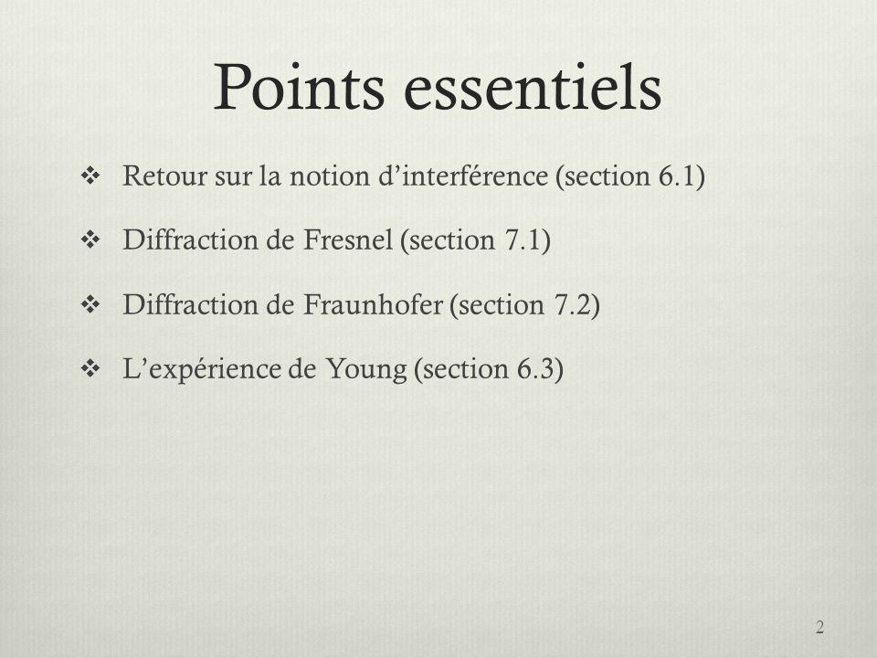 Points essentiels Retour sur la notion dinterférence (section 6.1) Diffraction de Fresnel (section 7.1) Diffraction de Fraunhofer (section 7.2) Lexpér