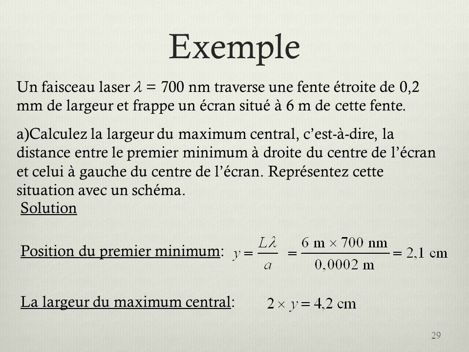 Exemple 29 Un faisceau laser = 700 nm traverse une fente étroite de 0,2 mm de largeur et frappe un écran situé à 6 m de cette fente. a)Calculez la lar