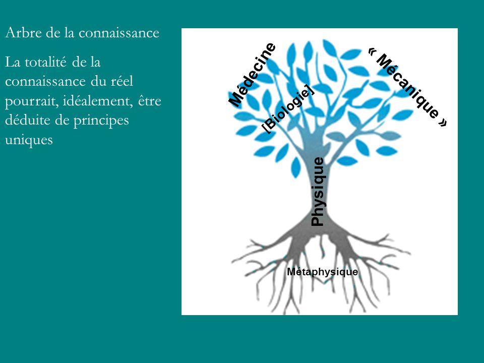 Arbre de la connaissance La totalité de la connaissance du réel pourrait, idéalement, être déduite de principes uniques Métaphysique Physique Médecine