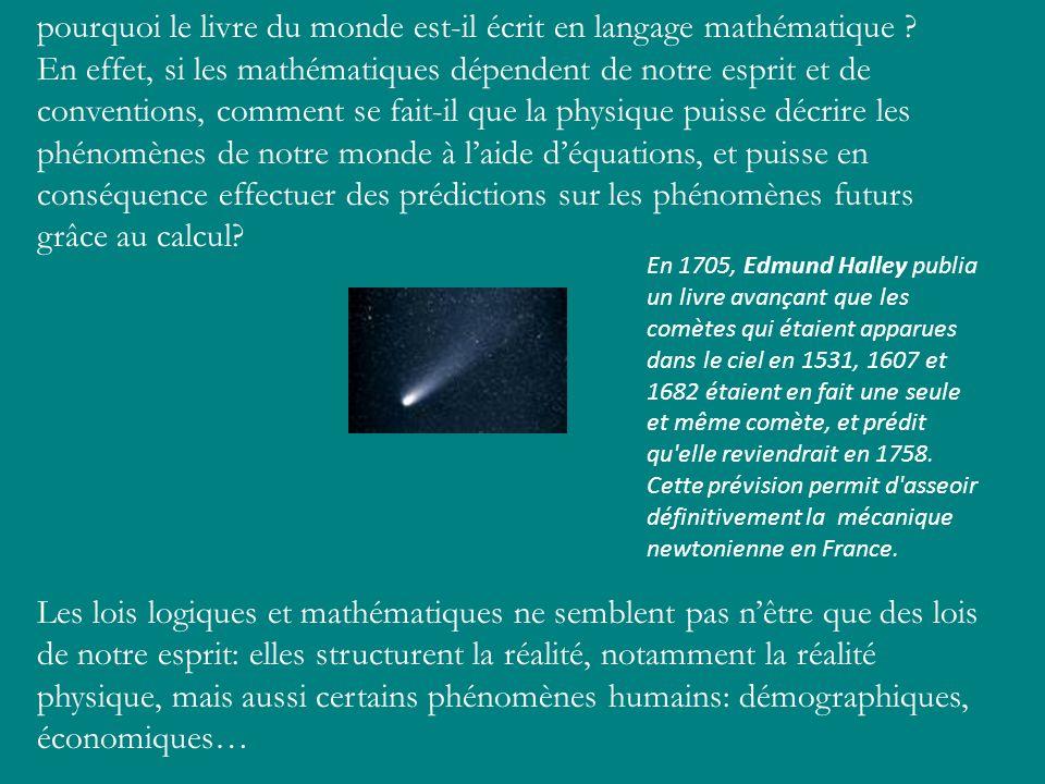 pourquoi le livre du monde est-il écrit en langage mathématique ? En effet, si les mathématiques dépendent de notre esprit et de conventions, comment