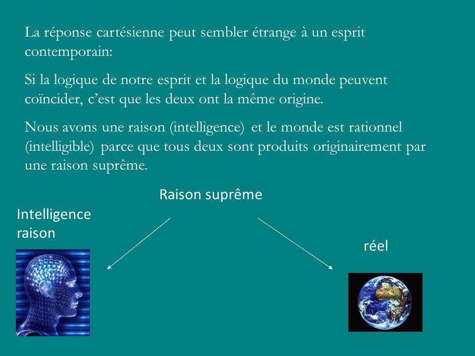 La réponse cartésienne peut sembler étrange à un esprit contemporain: Si la logique de notre esprit et la logique du monde peuvent coïncider, cest que