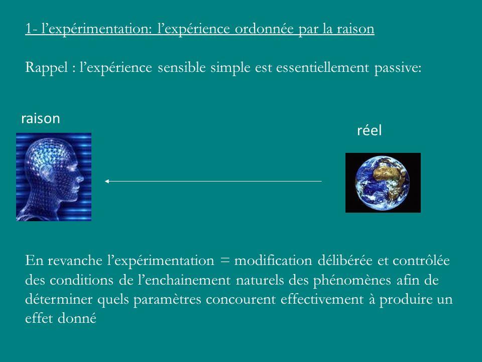 1- lexpérimentation: lexpérience ordonnée par la raison Rappel : lexpérience sensible simple est essentiellement passive: En revanche lexpérimentation
