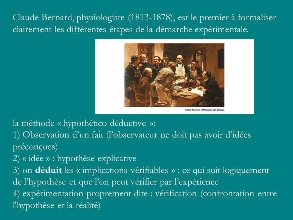 Claude Bernard, physiologiste (1813-1878), est le premier à formaliser clairement les différentes étapes de la démarche expérimentale. la méthode « hy
