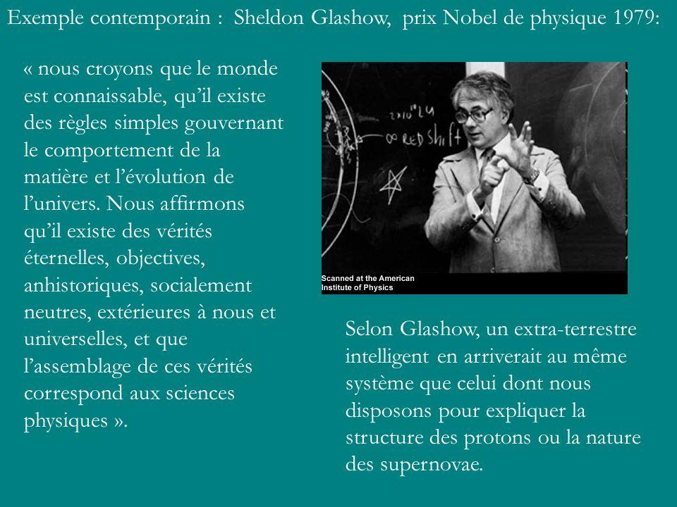 Exemple contemporain : Sheldon Glashow, prix Nobel de physique 1979: « nous croyons que le monde est connaissable, quil existe des règles simples gouv