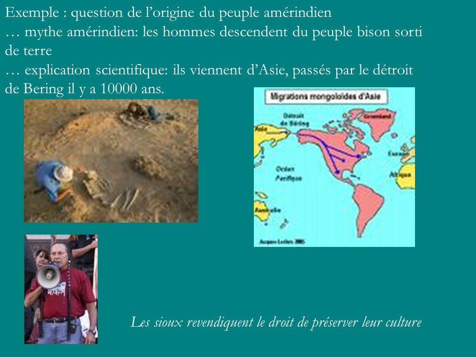 Exemple : question de lorigine du peuple amérindien … mythe amérindien: les hommes descendent du peuple bison sorti de terre … explication scientifiqu