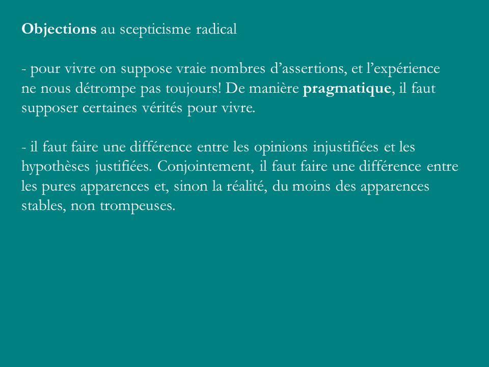 Objections au scepticisme radical - pour vivre on suppose vraie nombres dassertions, et lexpérience ne nous détrompe pas toujours! De manière pragmati