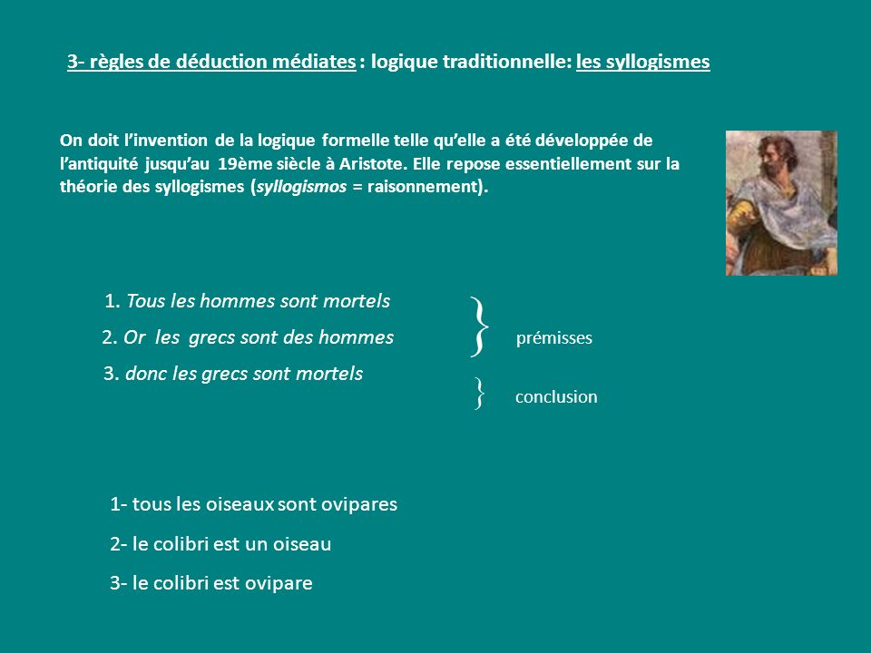 3- règles de déduction médiates : logique traditionnelle: les syllogismes 1. Tous les hommes sont mortels 1- tous les oiseaux sont ovipares 2- le coli