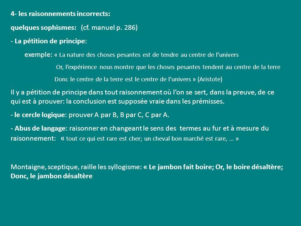 4- les raisonnements incorrects: quelques sophismes: (cf. manuel p. 286) - La pétition de principe: exemple: « La nature des choses pesantes est de te