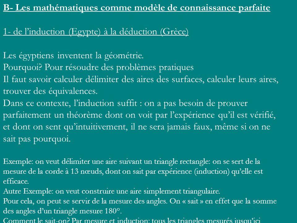 B- Les mathématiques comme modèle de connaissance parfaite 1- de linduction (Egypte) à la déduction (Grèce) Les égyptiens inventent la géométrie. Pour