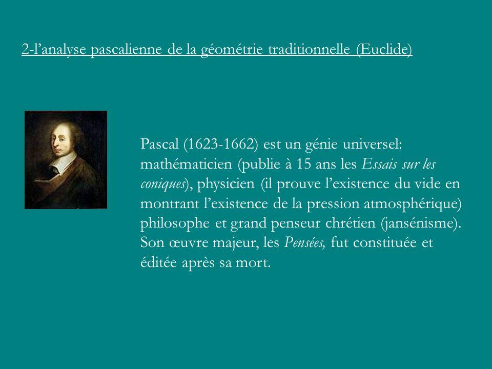 2-lanalyse pascalienne de la géométrie traditionnelle (Euclide) Pascal (1623-1662) est un génie universel: mathématicien (publie à 15 ans les Essais s
