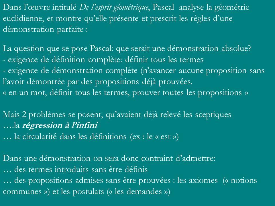 Dans lœuvre intitulé De lesprit géométrique, Pascal analyse la géométrie euclidienne, et montre quelle présente et prescrit les règles dune démonstrat