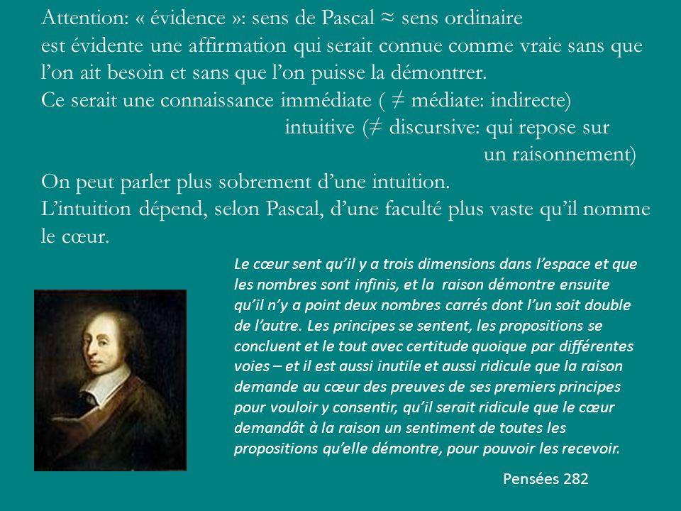 Attention: « évidence »: sens de Pascal sens ordinaire est évidente une affirmation qui serait connue comme vraie sans que lon ait besoin et sans que