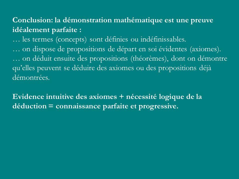 Conclusion: la démonstration mathématique est une preuve idéalement parfaite : … les termes (concepts) sont définies ou indéfinissables. … on dispose