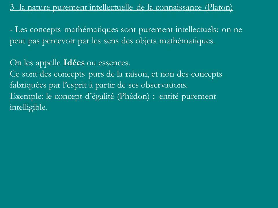 3- la nature purement intellectuelle de la connaissance (Platon) - Les concepts mathématiques sont purement intellectuels: on ne peut pas percevoir pa