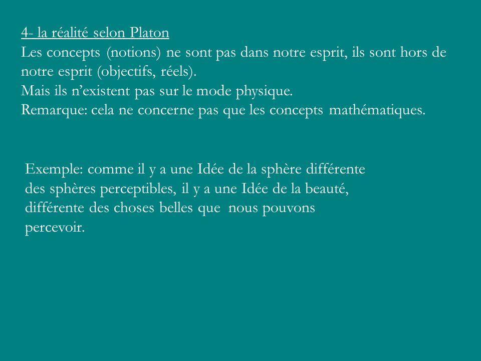 4- la réalité selon Platon Les concepts (notions) ne sont pas dans notre esprit, ils sont hors de notre esprit (objectifs, réels). Mais ils nexistent