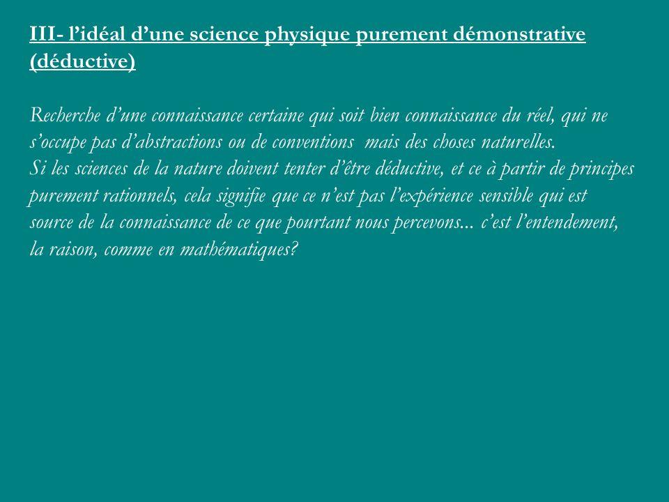 III- lidéal dune science physique purement démonstrative (déductive) Recherche dune connaissance certaine qui soit bien connaissance du réel, qui ne s