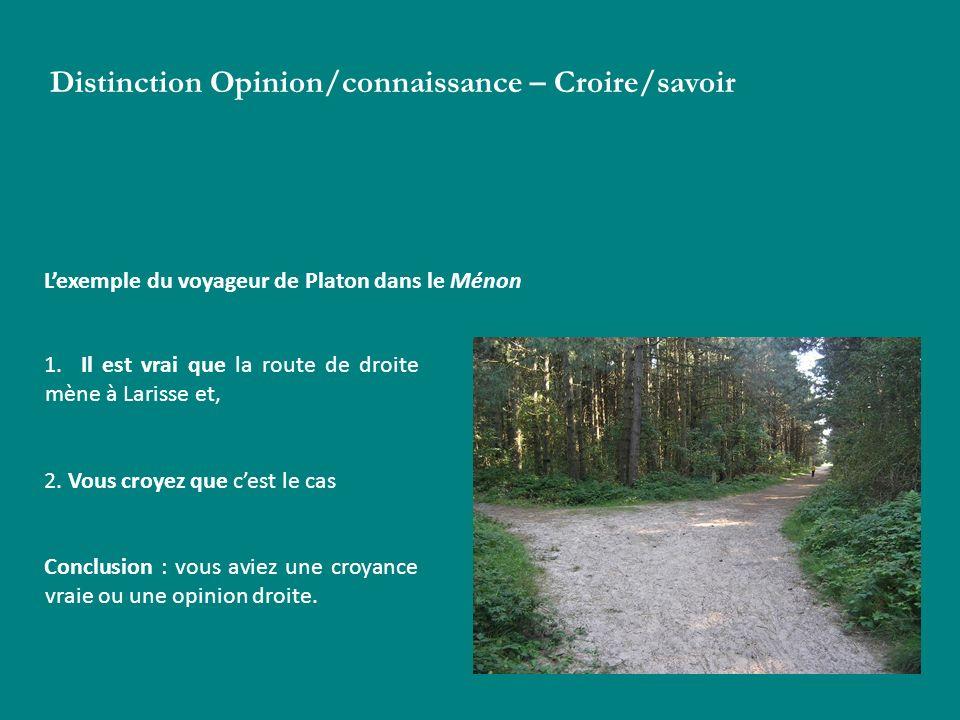 Distinction Opinion/connaissance – Croire/savoir Lexemple du voyageur de Platon dans le Ménon 1. Il est vrai que la route de droite mène à Larisse et,