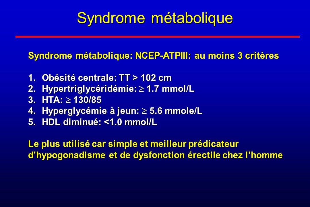 Syndrome métabolique Syndrome métabolique: NCEP-ATPIII: au moins 3 critères 1.Obésité centrale: TT > 102 cm 2.Hypertriglycéridémie: 1.7 mmol/L 3.HTA: