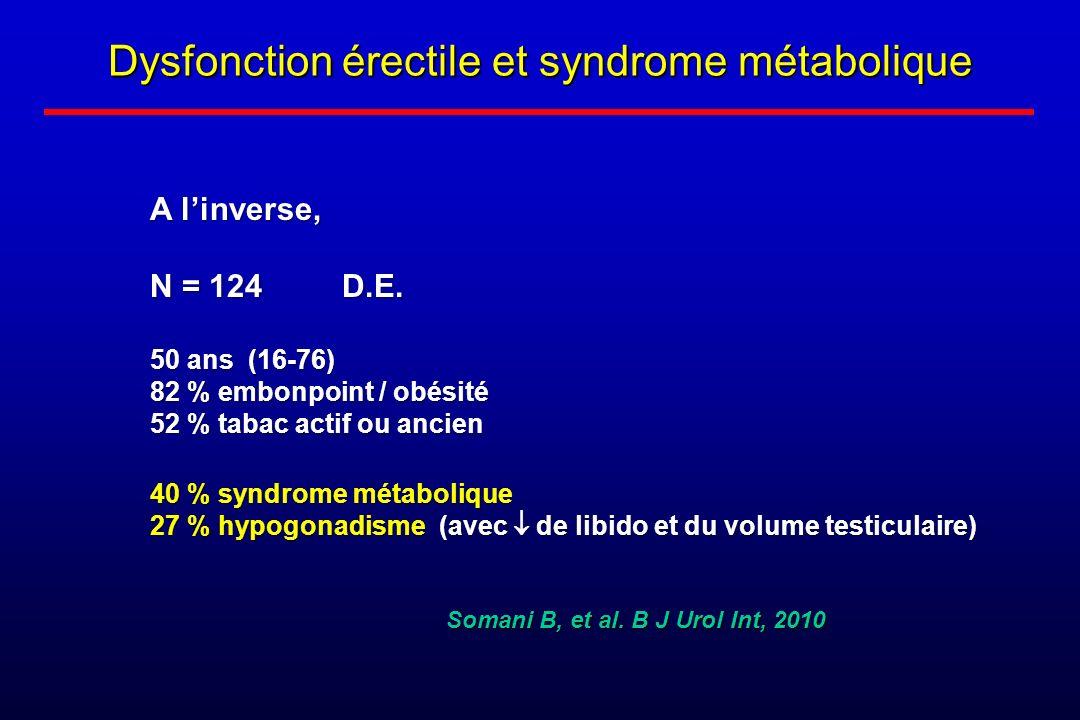 Dysfonction érectile et syndrome métabolique A linverse, N = 124 D.E. 50 ans (16-76) 82 % embonpoint / obésité 52 % tabac actif ou ancien 40 % syndrom